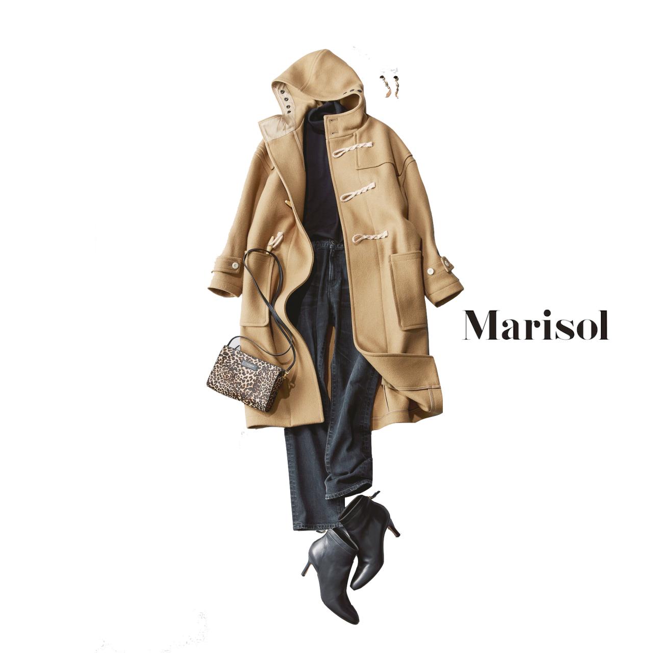 40代ファッション ダッフルコート×デニムコーデ