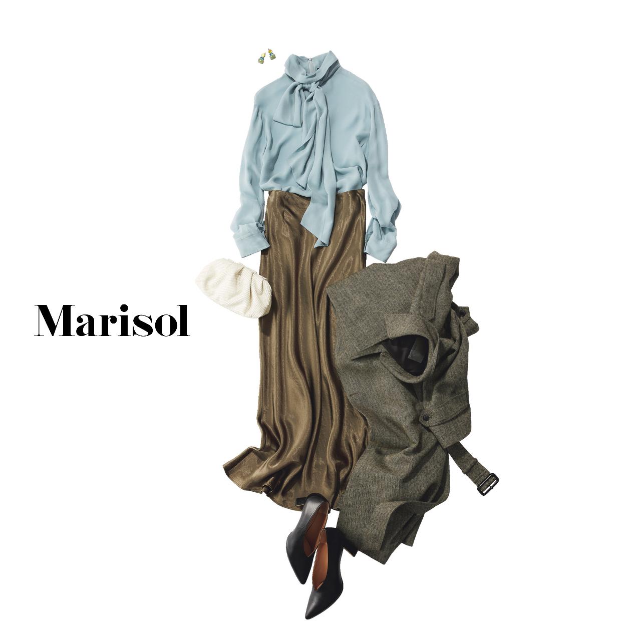40代ファッション ボウタイドレスシャツ×艶スカート×コートコーデ