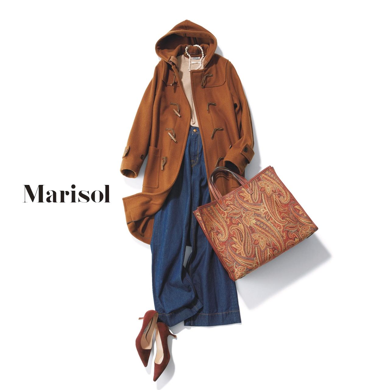 40代ファッション ダッフルコート×ワイドデニムパンツコーデ
