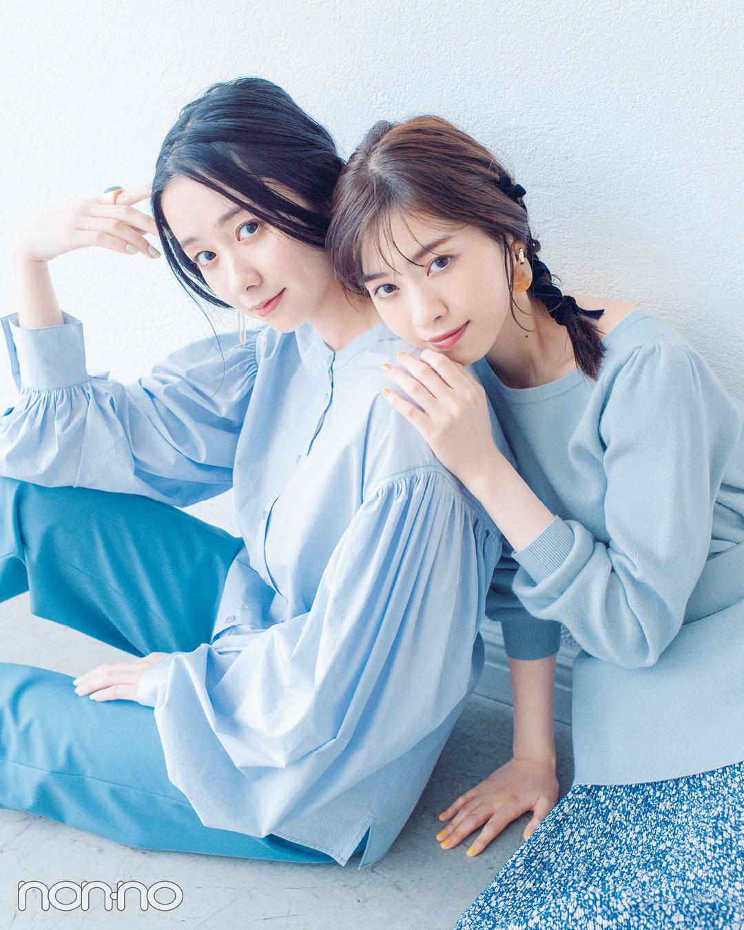 西野七瀬&堀田真由の春のあいまいカラーコーデ♡ 寒色系パステルならこんな感じ!_1_3