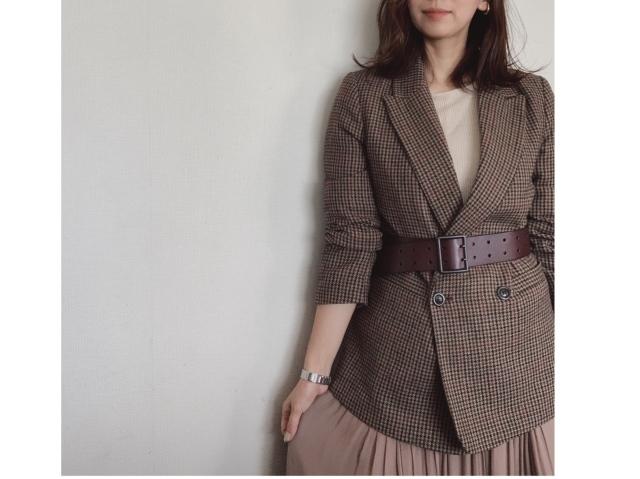 打ち合わせ兼ランチコーデ  tops:IENA skirt:Plage  ベルト: UNIQLO×イネスコラボ レザーワイドベルト ¥2990円+税