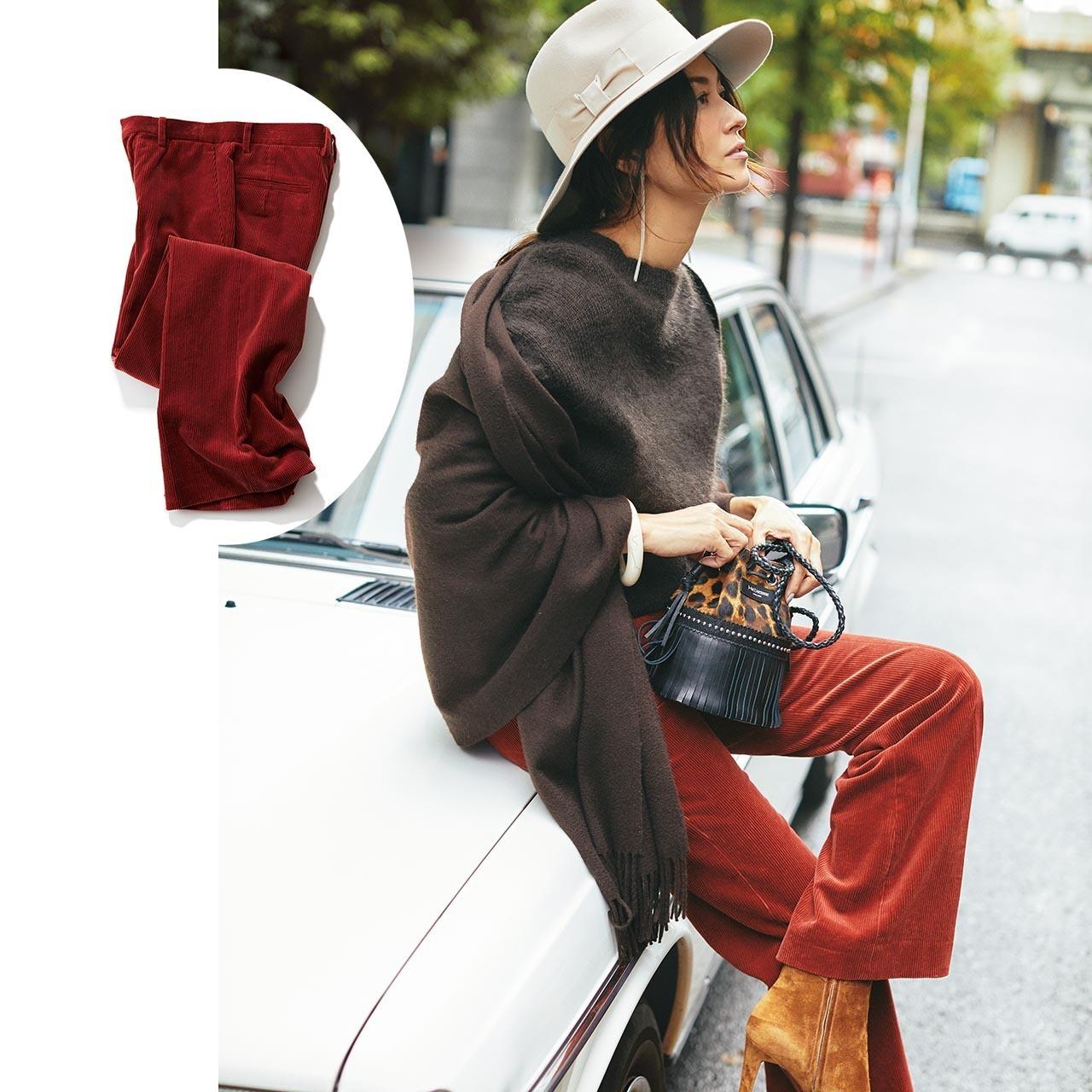 ニット×コーデュロイパンツのファッションコーデ