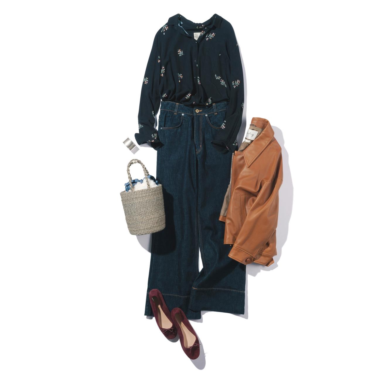 花柄シャツ×デニムパンツのファッションコーデ