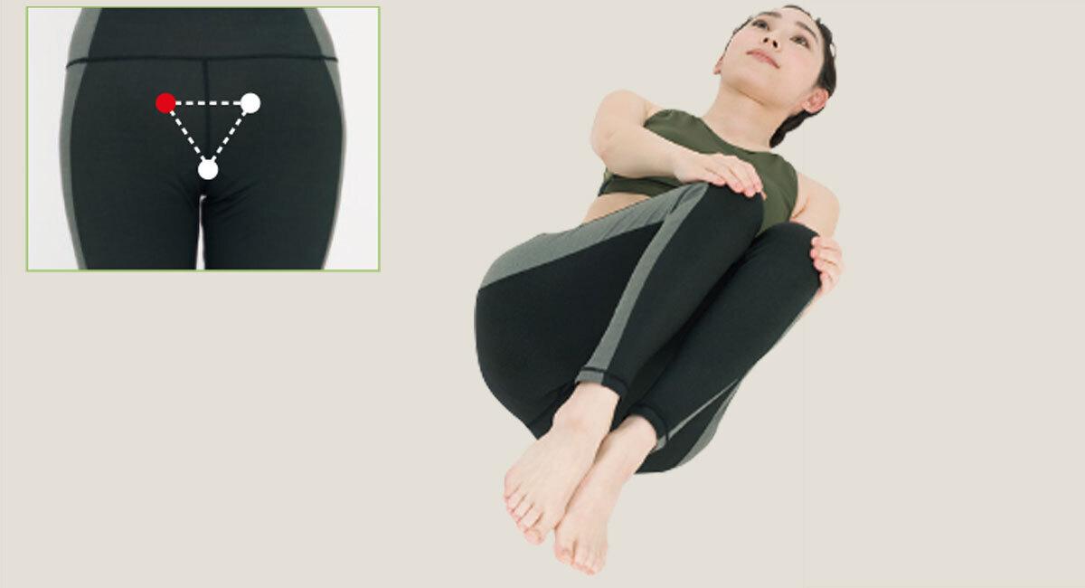 両膝を左へ回し、仙骨左側を刺激