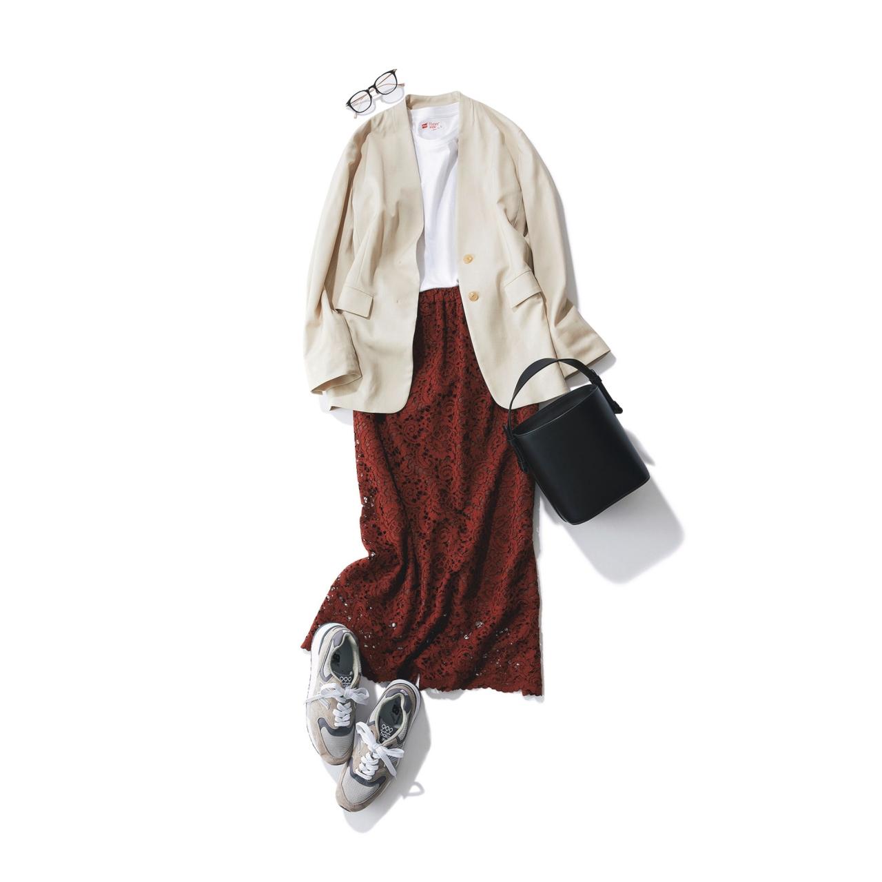 ニューバランスのグレースニーカー×ジャケット&レーススカートのファッションコーデ