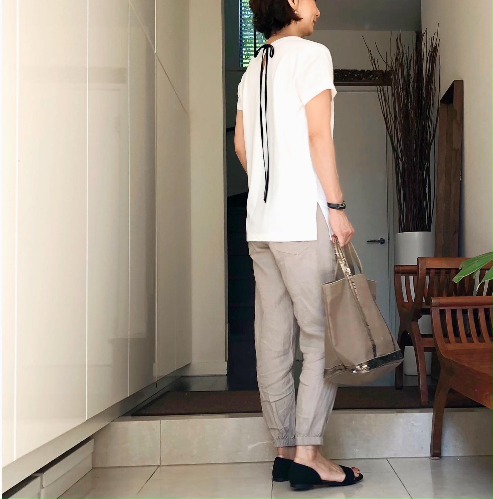 ZARAのリネン素材のジョガーパンツ