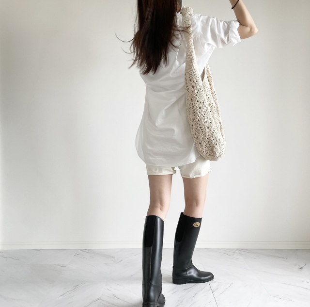 雨の休日 ロングシャツとレインブーツコーデ:OOTD【40代 私のクローゼット】_1_5