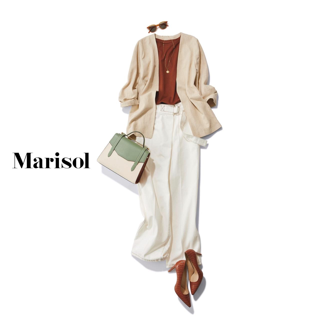 40代ファッション ブラウンTシャツ×ホワイトパンツコーデ