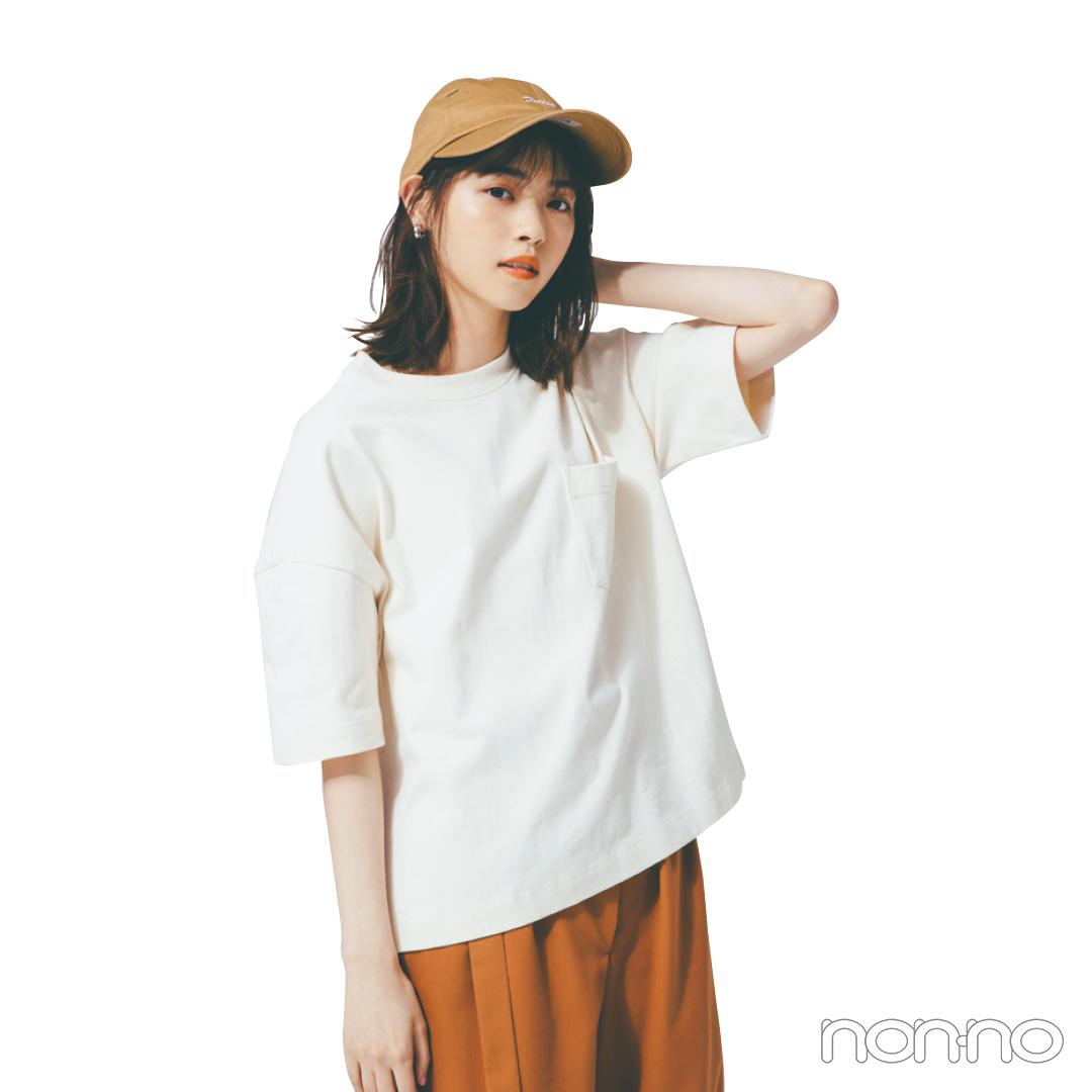 ボックス型のTシャツ、シンプルなのに細見えするってウワサ!_1_3-2