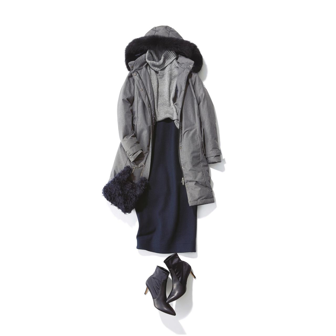 ファッション ダウンジャケット×タイトスカートコーデ