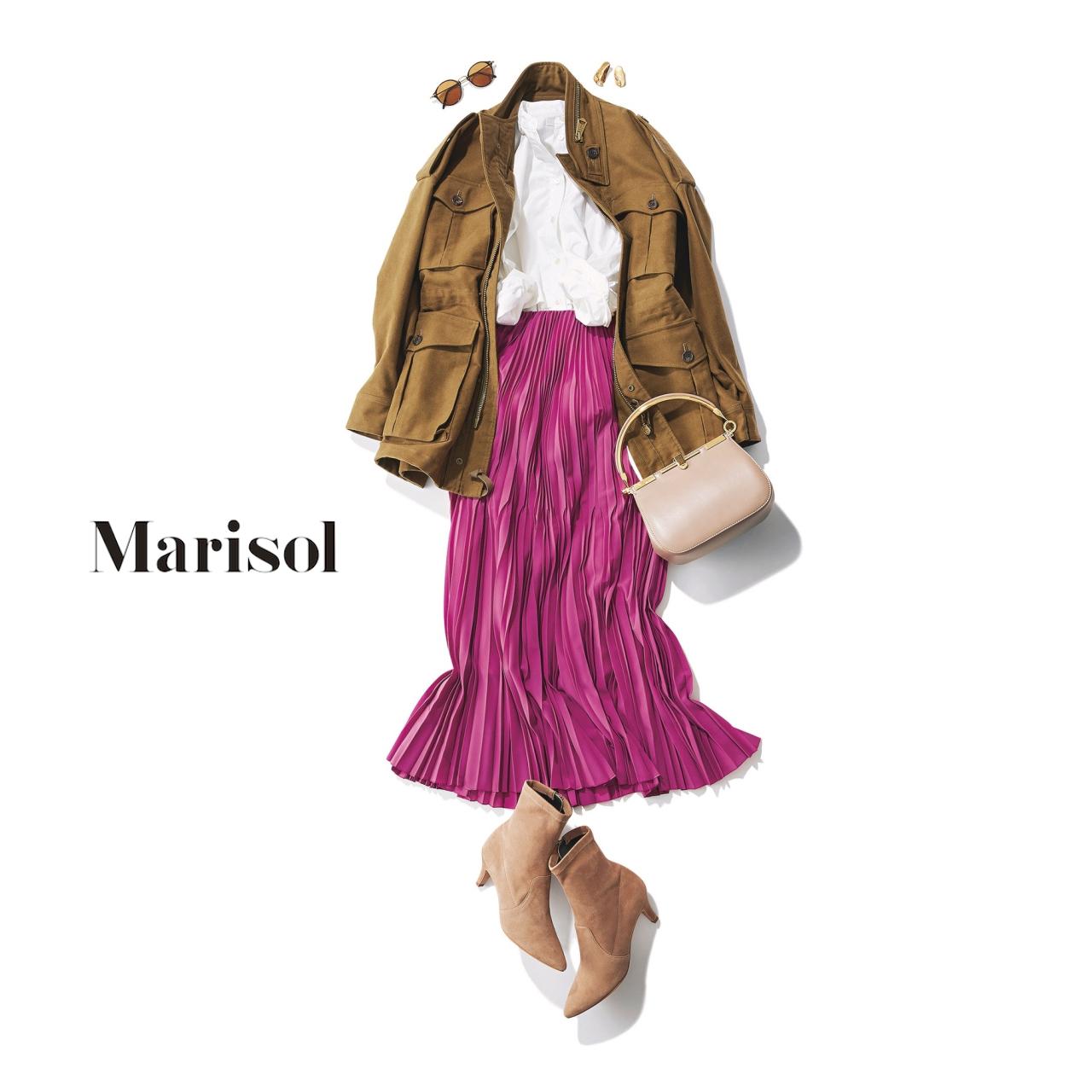 40代ファッション 白ブラウス×ピンクプリーツスカートコーデ