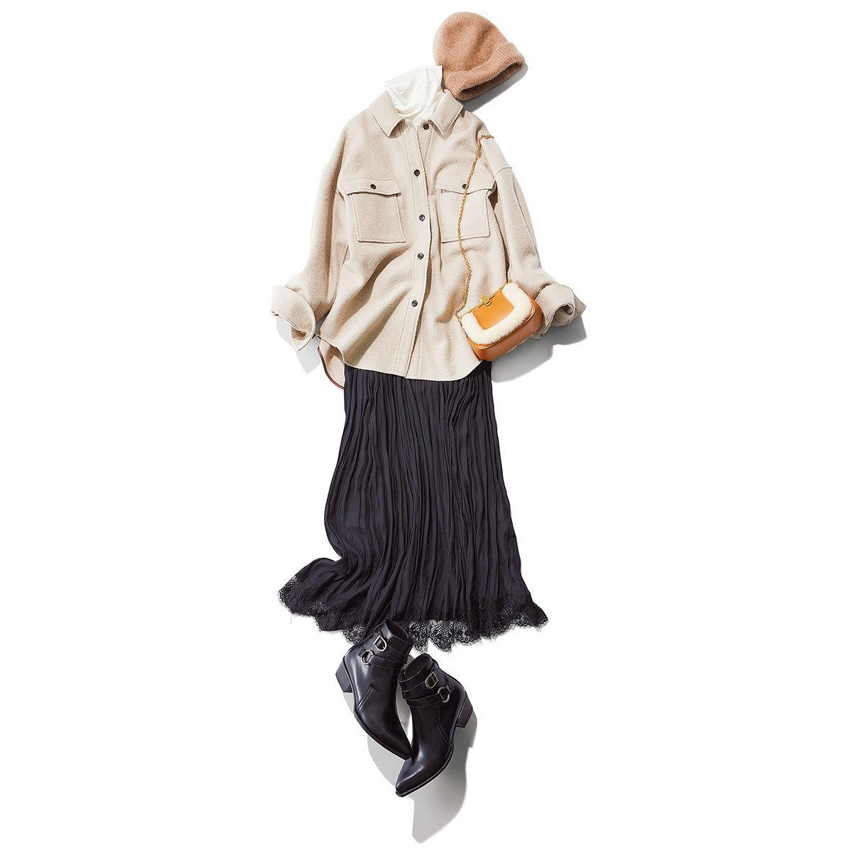 ルージュ・ヴィフのCPOジャケット×スカート×ショートブーツコーデ