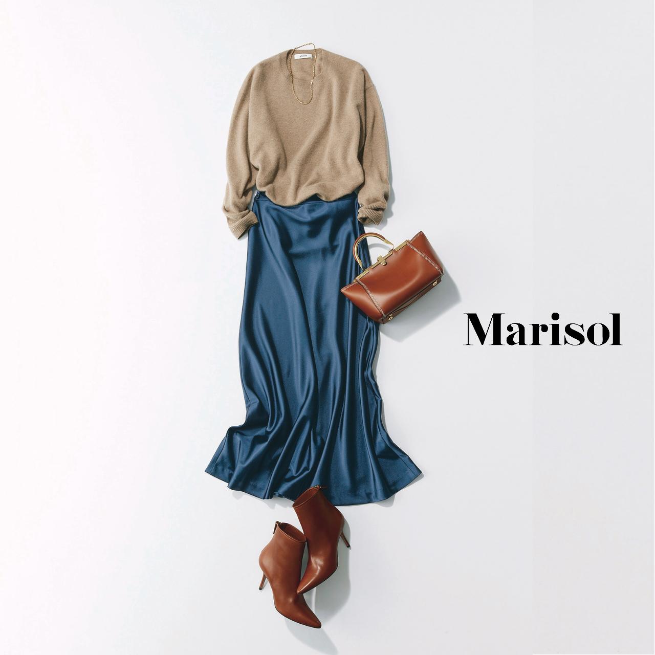 40代ファッション ニット×光沢スカートコーデ