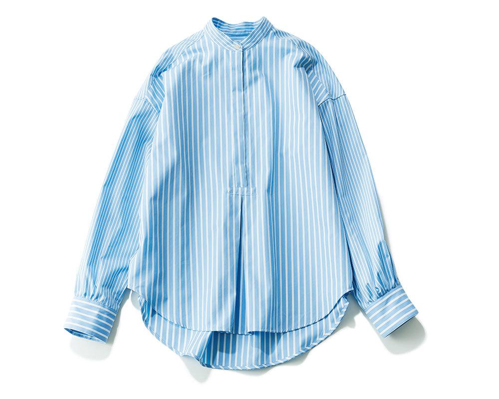 リモートトップス「ストライプ柄 バンドカラーシャツ」2