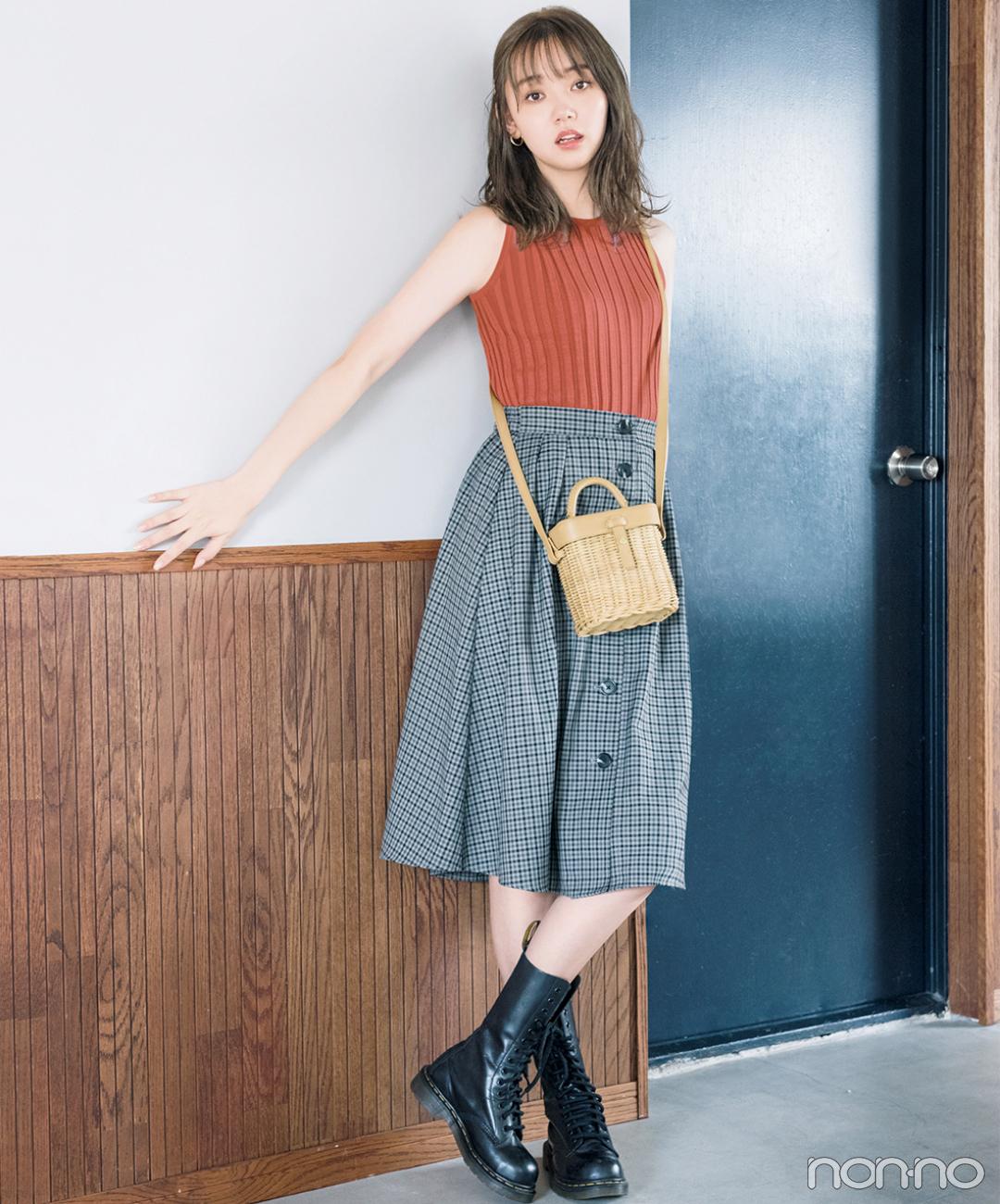 秋を感じるテラコッタ色&チェックのスカートを投入!【毎日コーデ】