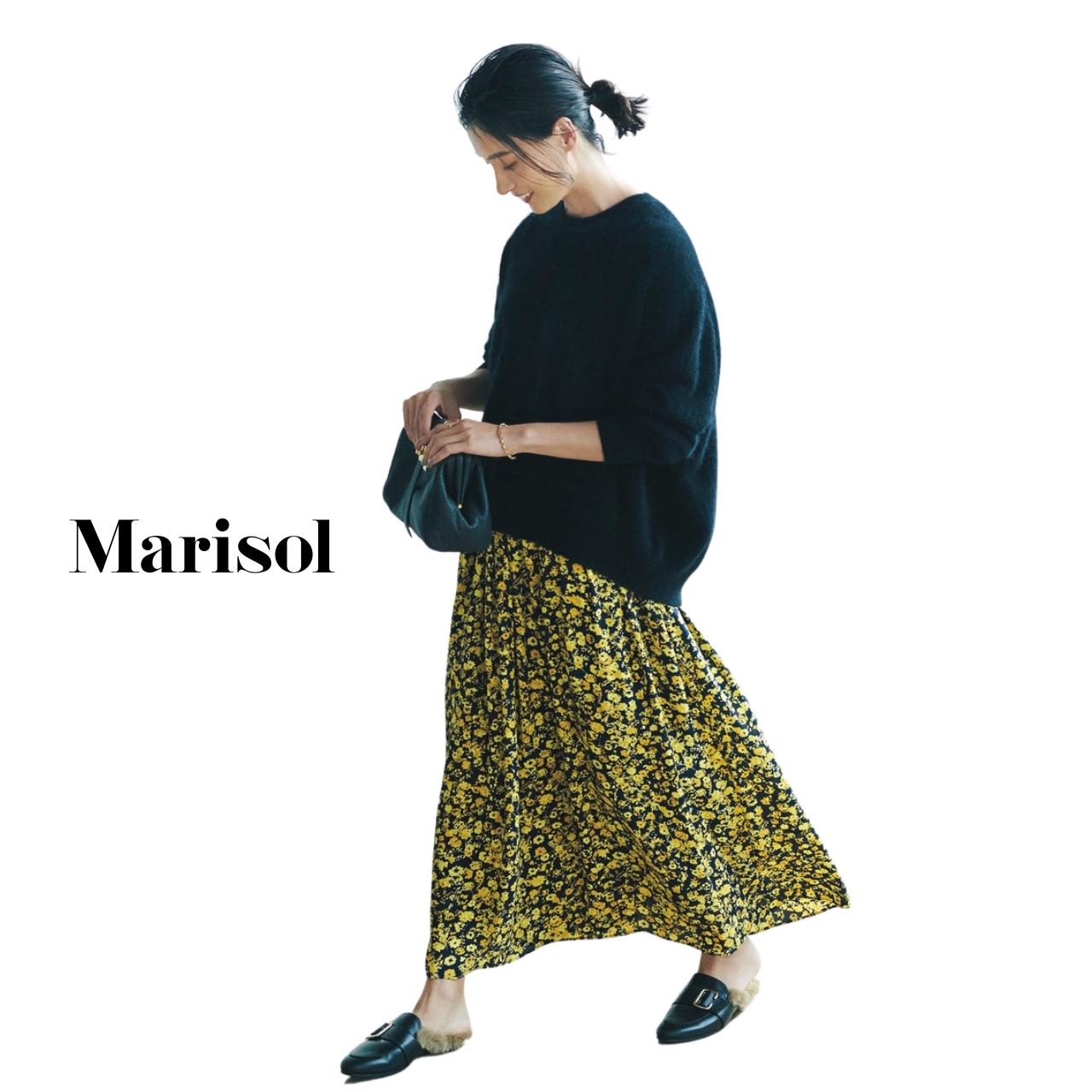 40代ファッション ニット×柄スカートコーデ