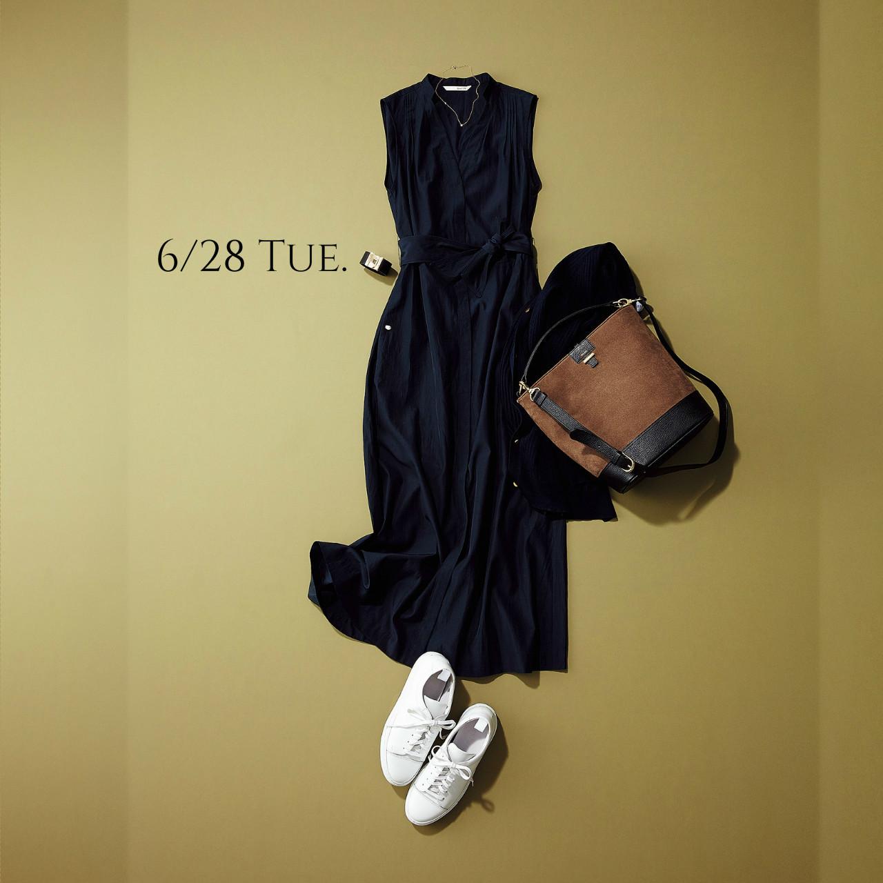 一枚でさらりと知的に着る「美人ワンピ」は慌ただしい朝の味方♡_1_1