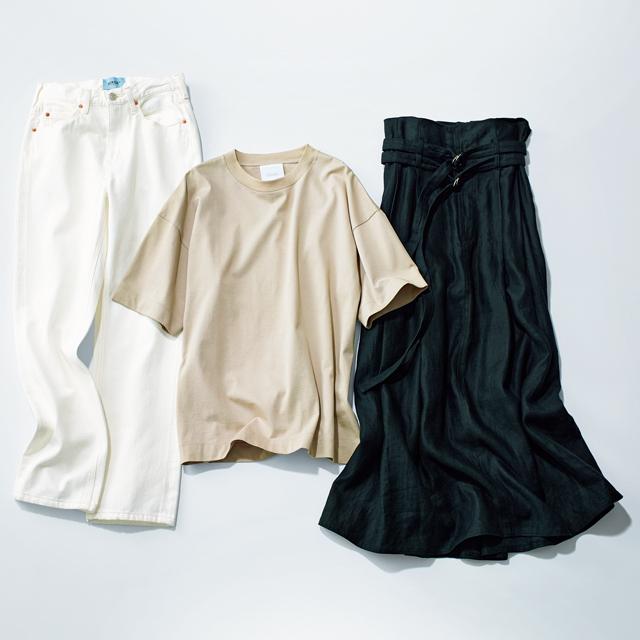 この春の新定番アイテムは白デニム・ベージュT・黒スカートに決まり!