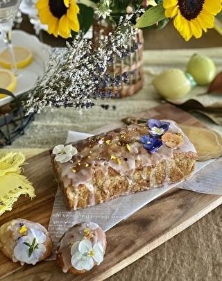パウンド型とレモン型で作ったオリーブオイルのレモンヨーグルトケーキ