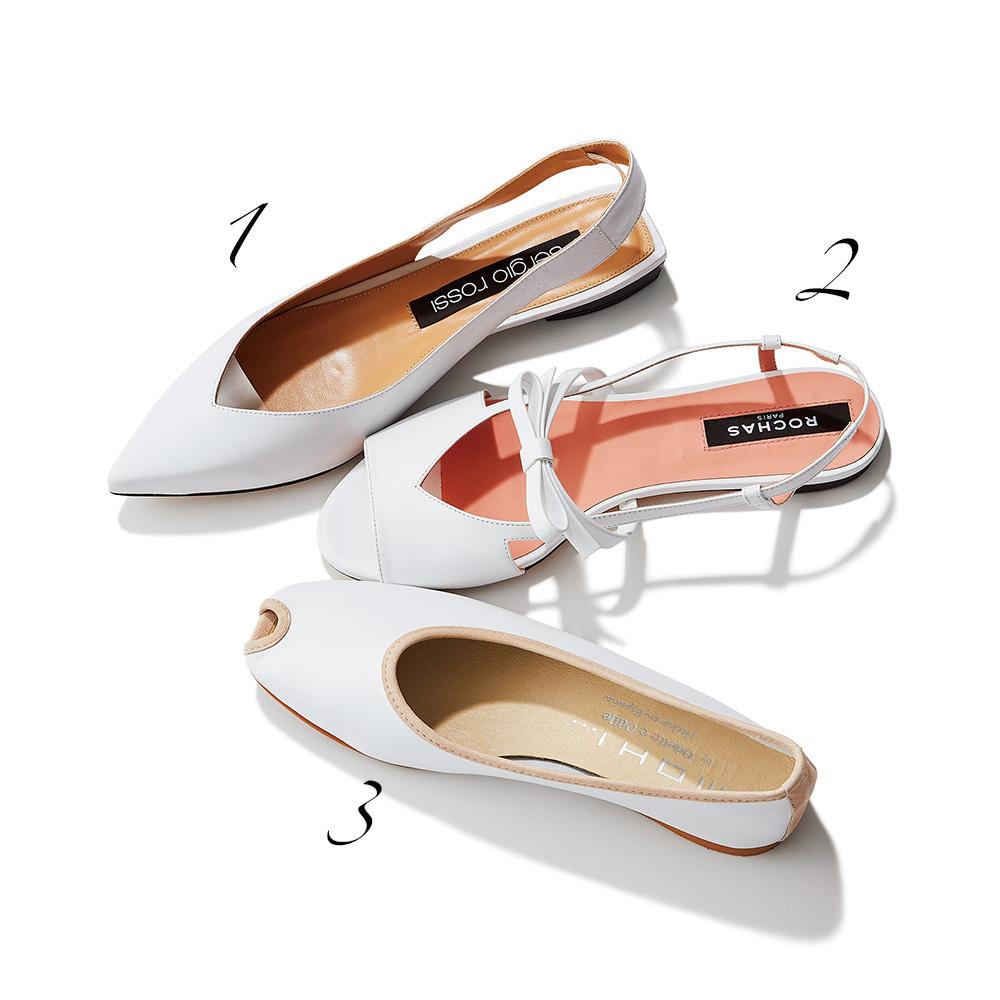 白いフラット靴3足