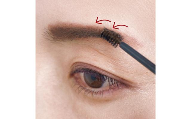 毛流れに逆らい、眉の根元から前へ掘り起こすようにつけるのがコツ。一本一本にコシが出て、若々しく。