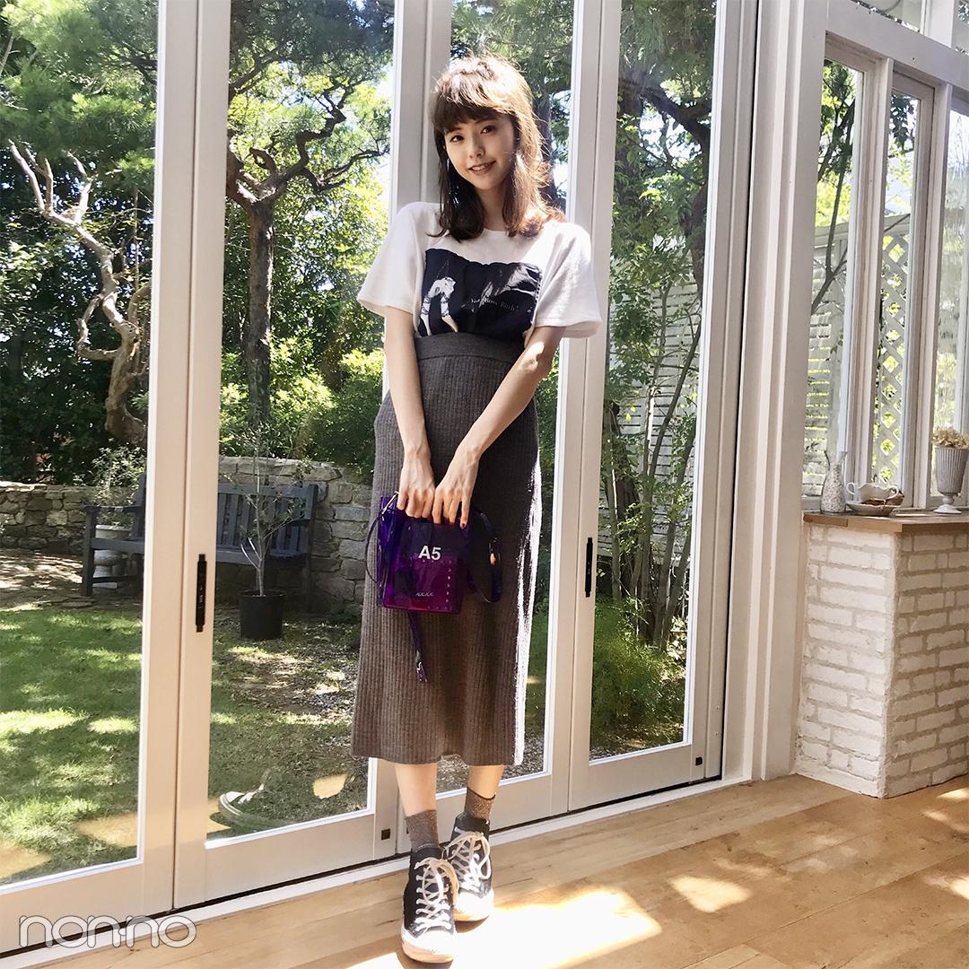 鈴木優華はユニクロのニットスカートをトレンド小物で♡【モデルの私服】_1_1