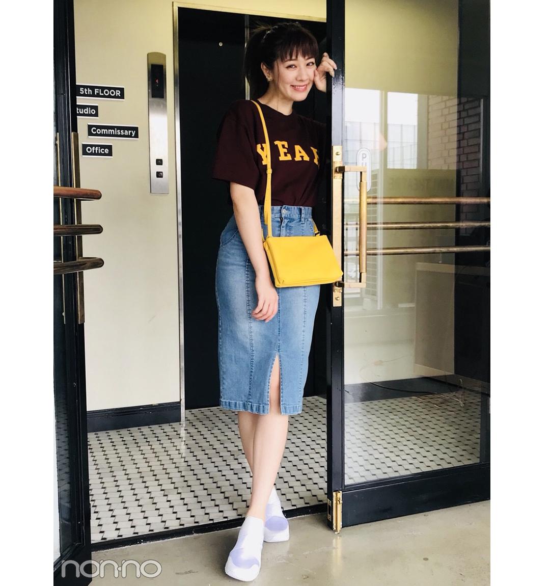 岡本杏理はデニムタイトで女っぽカジュアル【毎日コーデ】_1_1