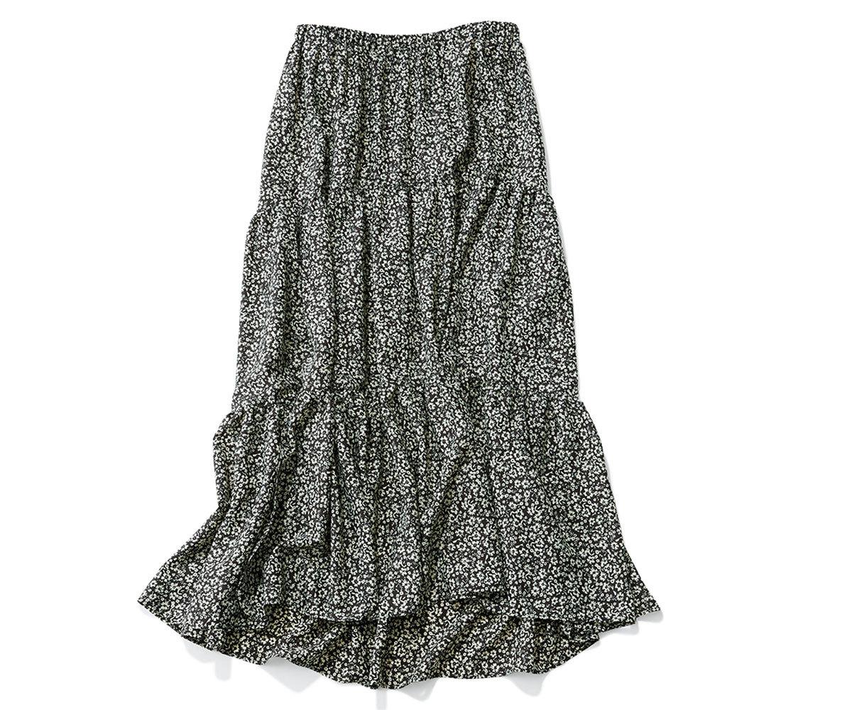 40代ファッション2019年夏のお買い物_HARDY NOIRのモノトーン小花柄スカート