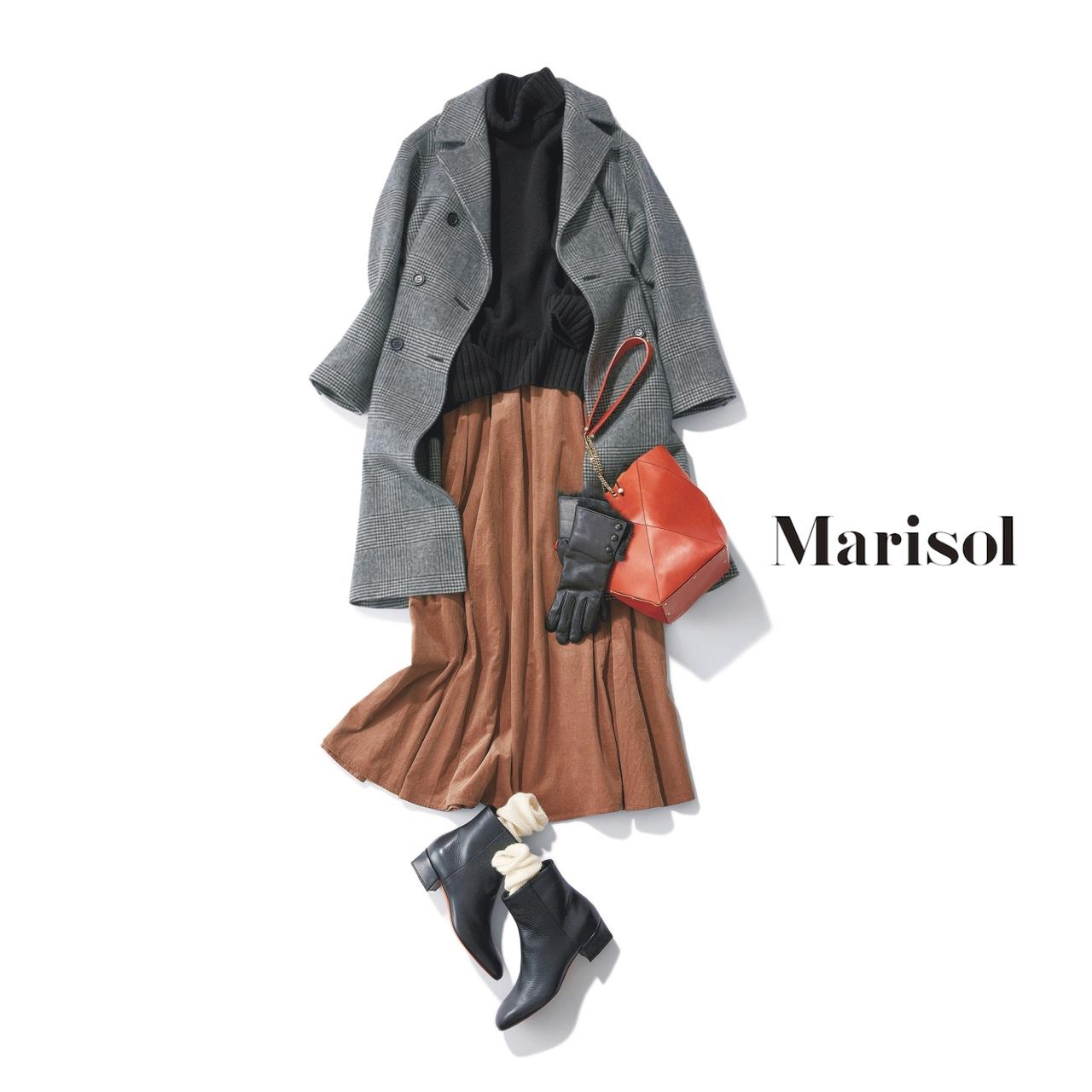 40代ファッション グレーチェック柄コート×タートルニット×スカートコーデ