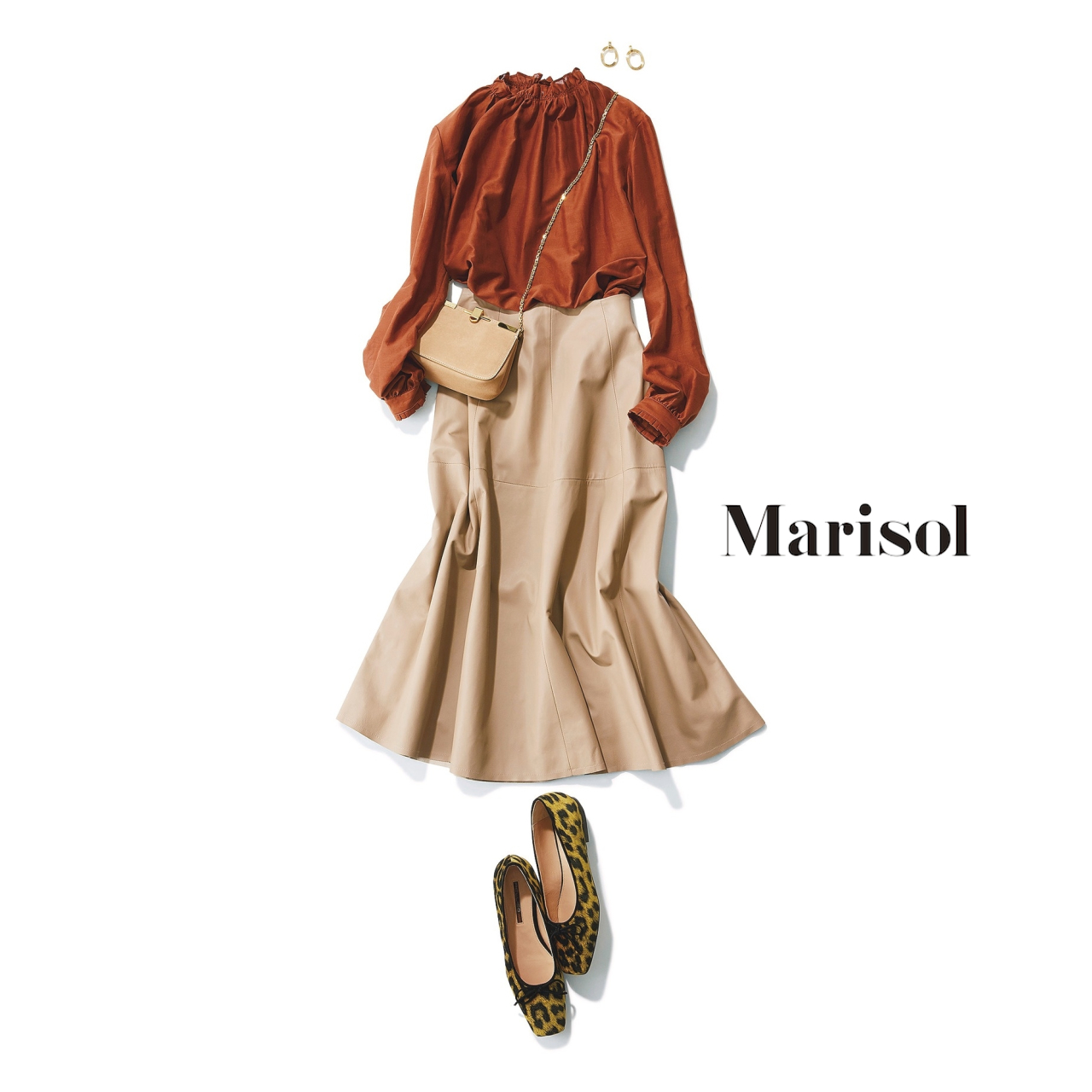 40代ファッション ブラウンブラウス×ベージュスカートコーデ