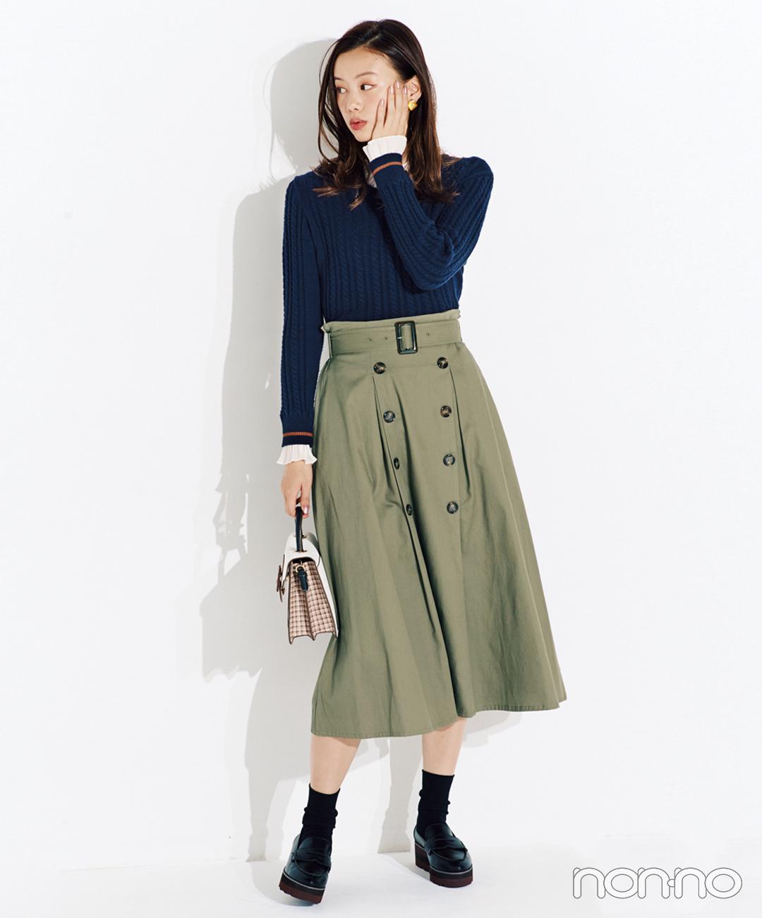 【ローファーコーデ】履くだけでウエストキュッなトレンチスカートに夢中