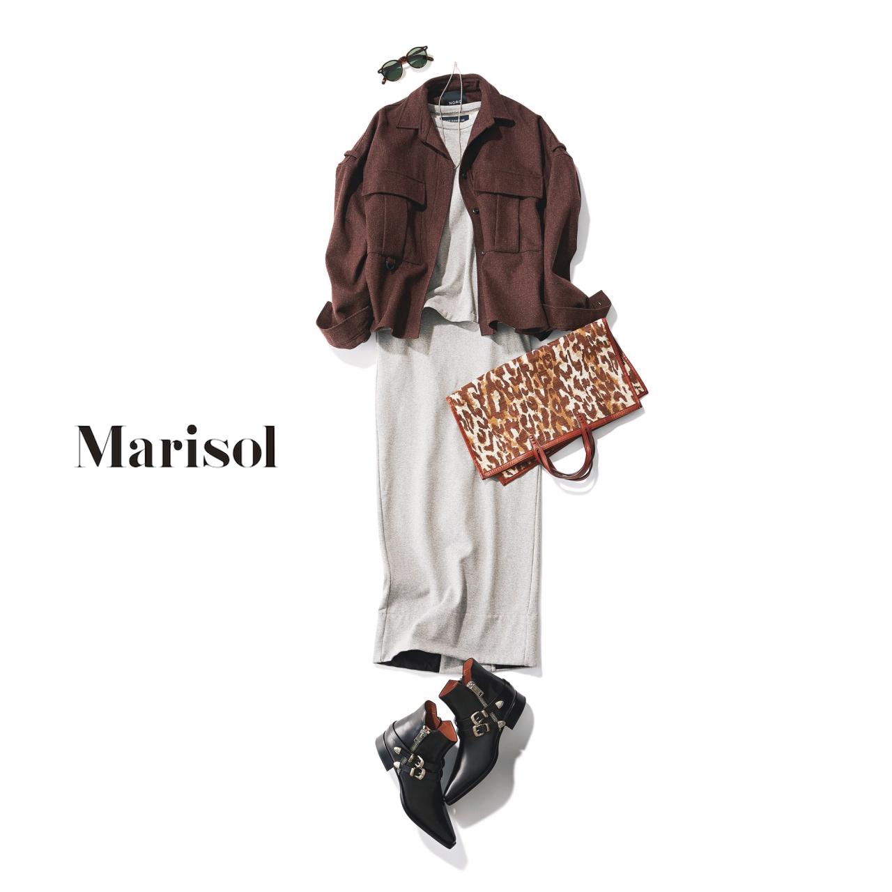 40代ファッション ワークブラウス×スカートセットアップコーデ