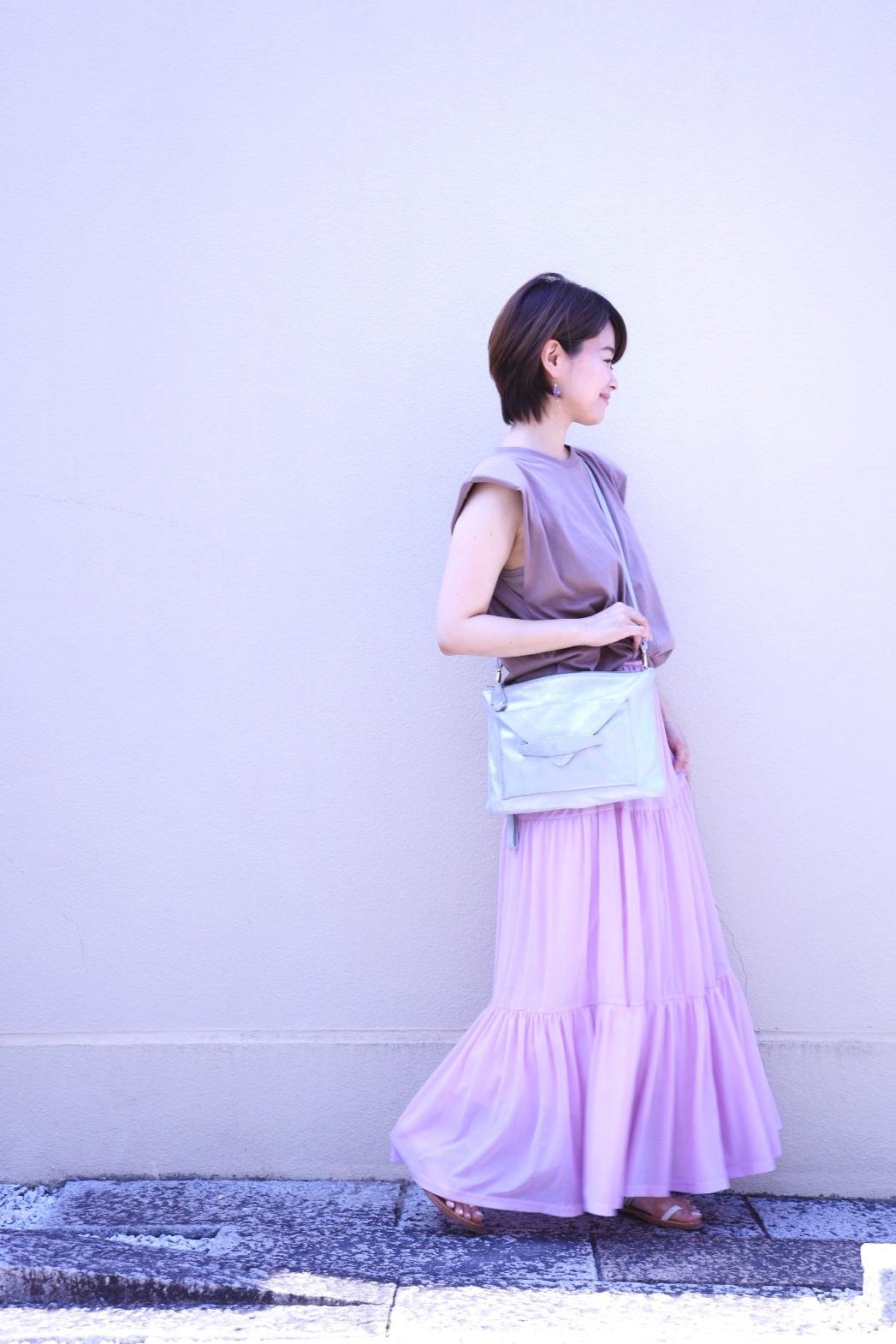 ZARAの細見えパワーショルダートップスと、きれい色のひらりんスカート♡_1_2