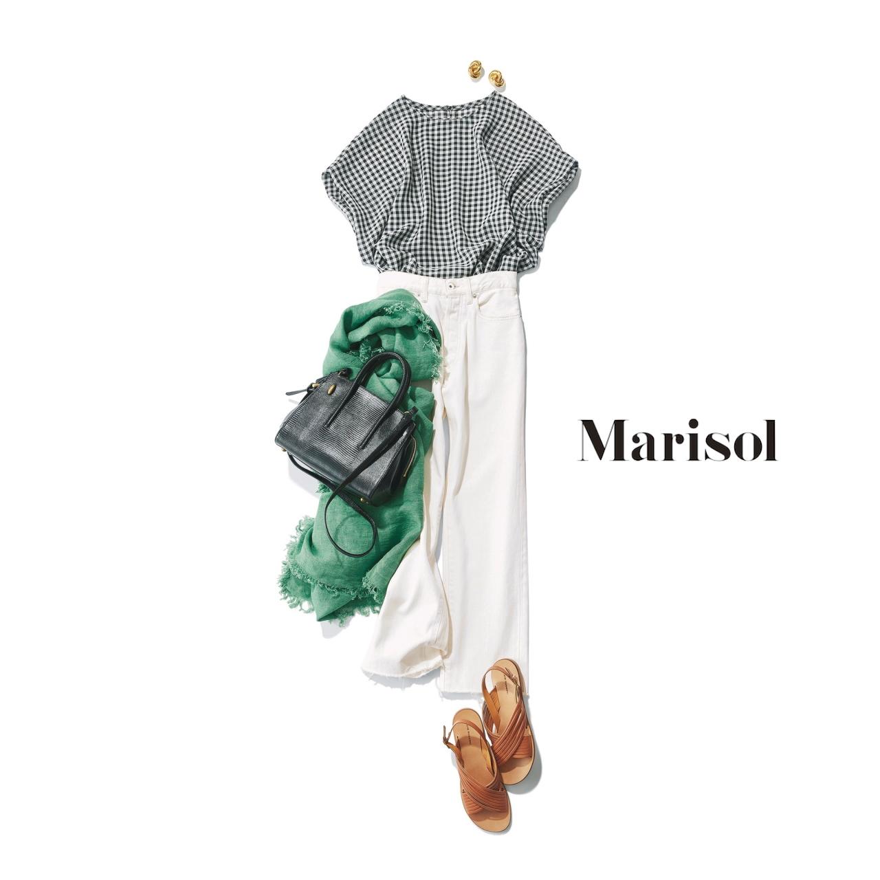 40代ファッション ギンガムチェック×白デニムパンツコーデ