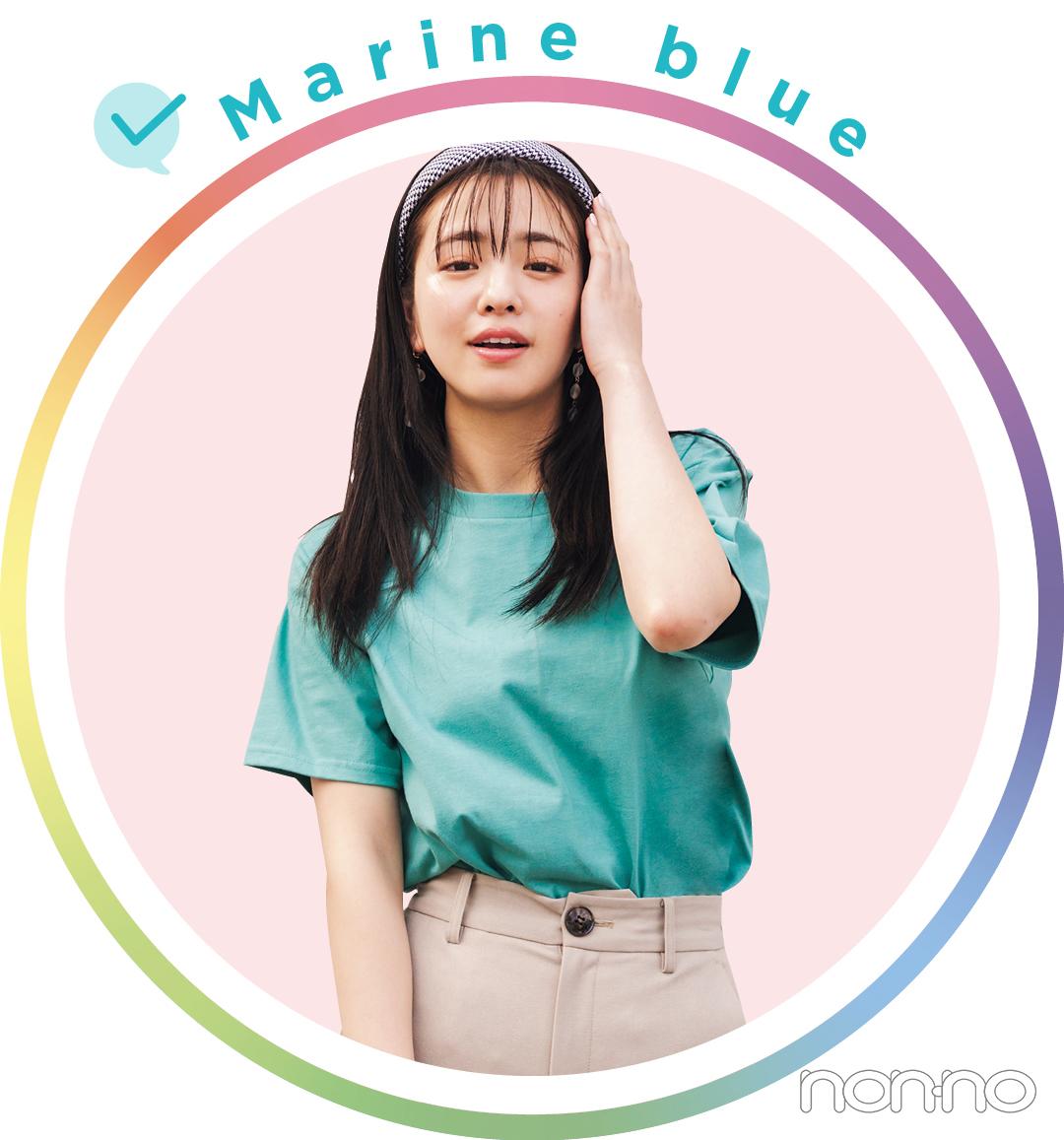 横田真悠が着るMarine blueのTシャツコーデ10