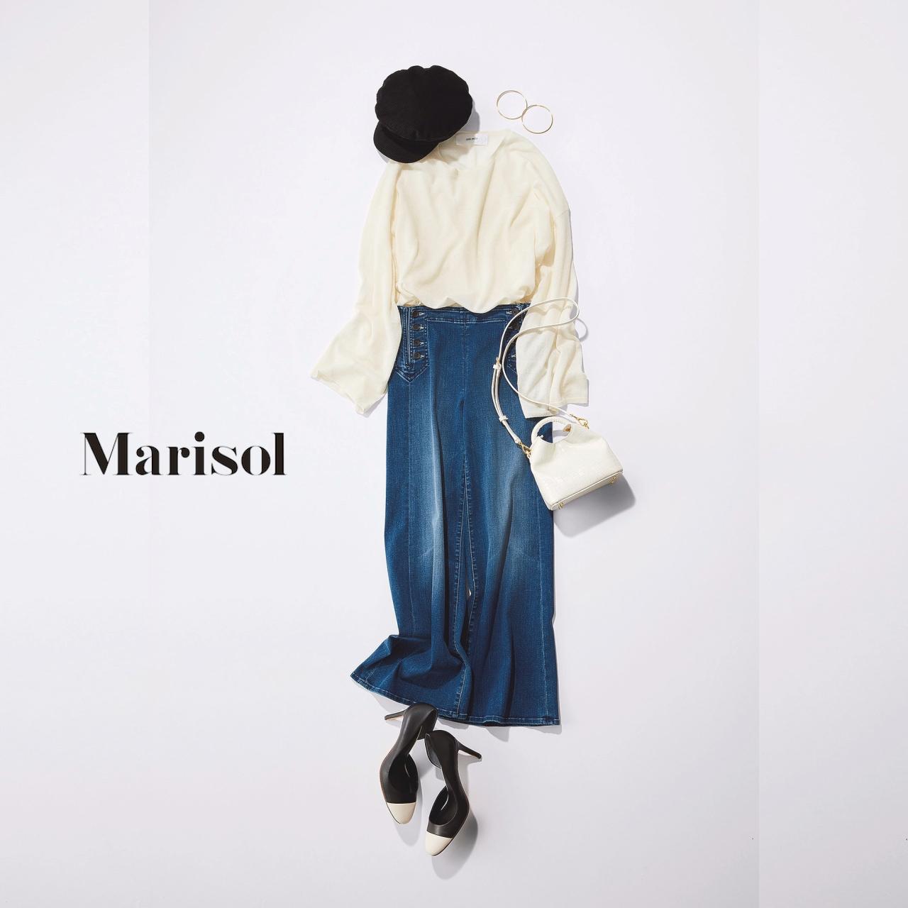 40代ファッション 白ブラウス×ワイドデニムパンツコーデ