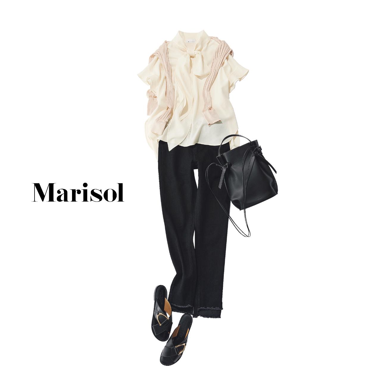 40代ファッション   ボウタイブラウス×黒パンツ×サンダル×肩がけニットコーデ