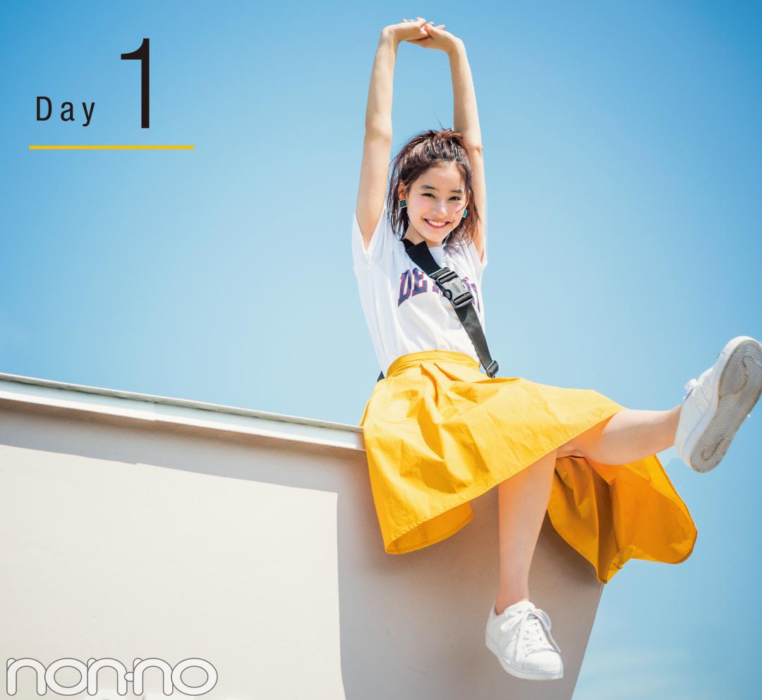 新木優子のきれい色揺れスカート着回し♡ ¥4250で最高おしゃれな4Days!_1_2-1