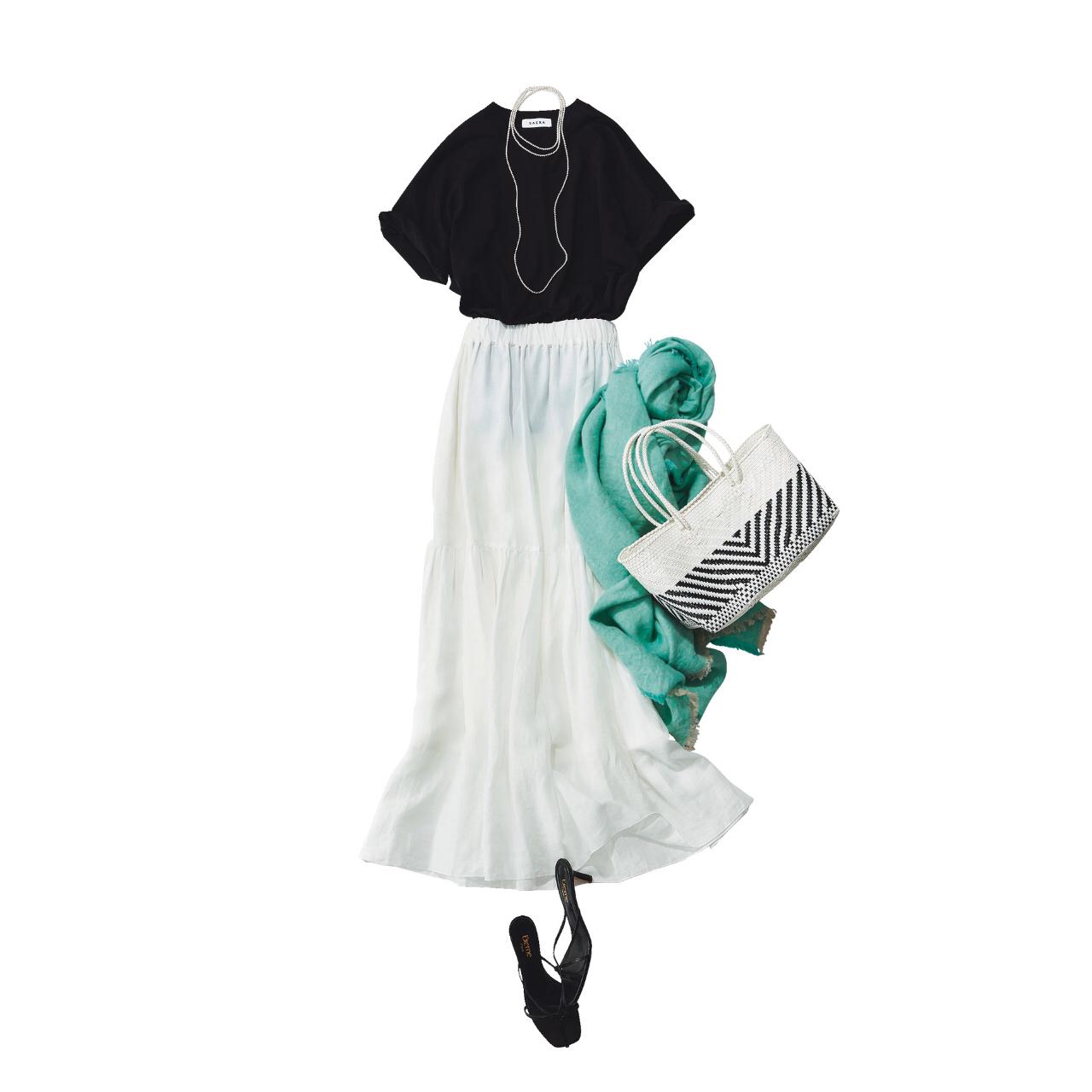 「ストール」でアラフォーの夏コーデをブラッシュアップ! 冷房対策にもおしゃれにも効くストールの取り入れ方  40代ファッション_1_8