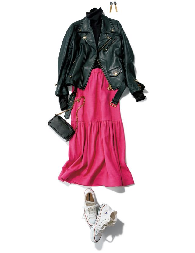 フィンナのピンクのスカートコーデ