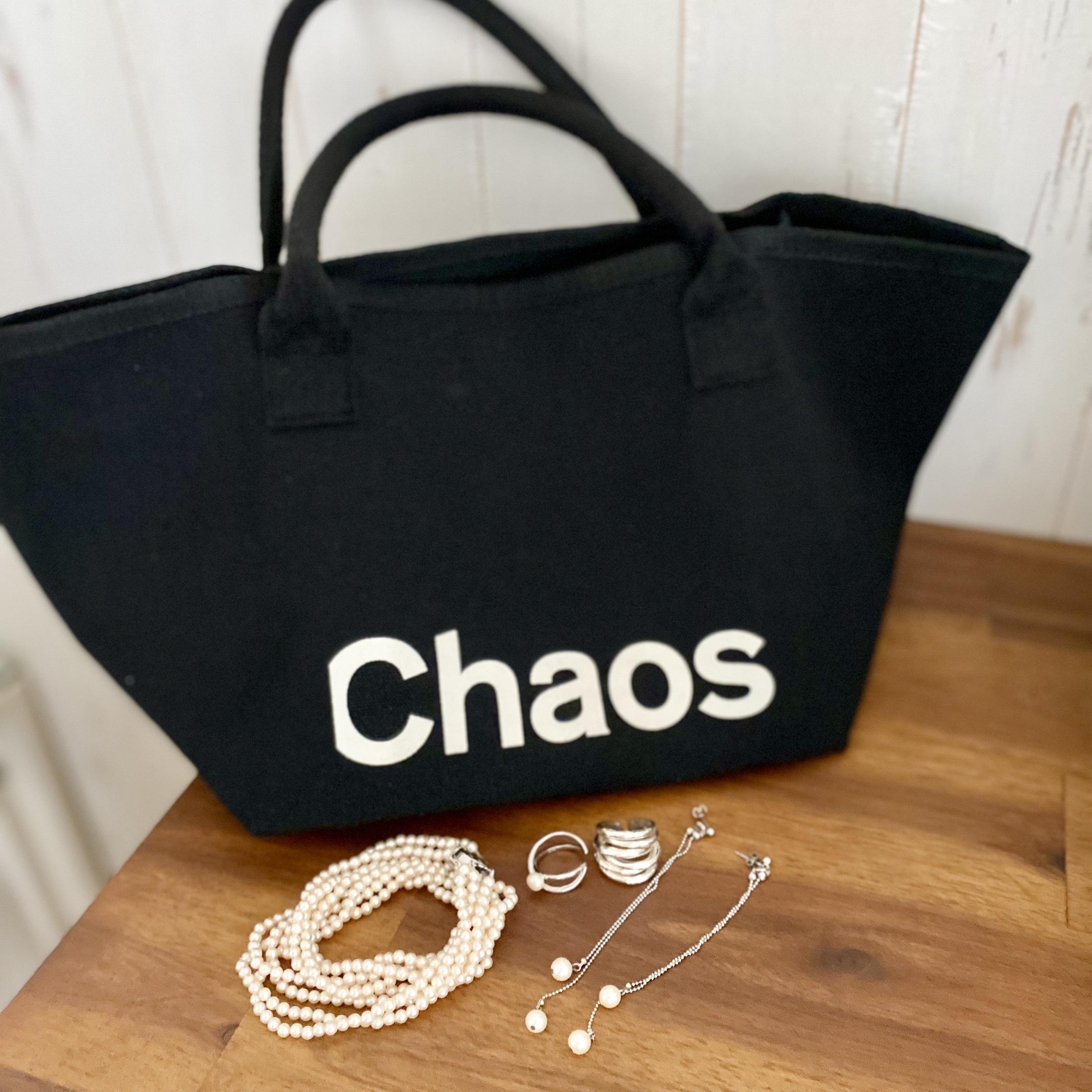 10月号付録のChaosのトートバッグとパール系アクセサリー