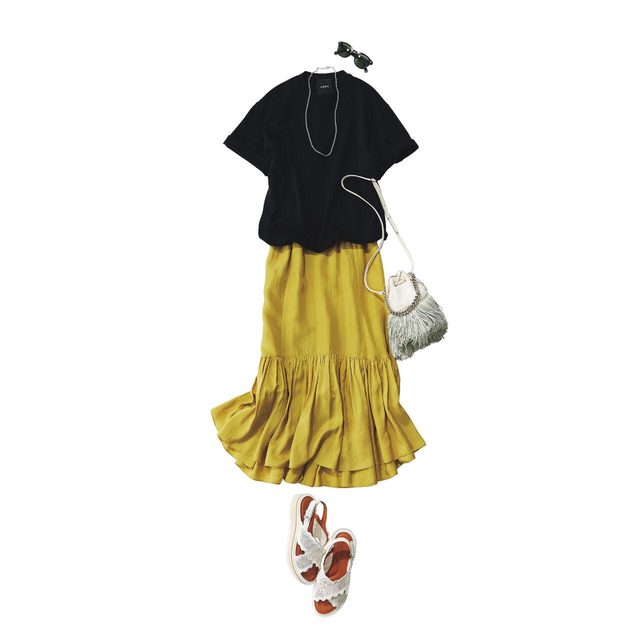 【真夏こそ映える黒コーデ】重たく見えず、シックに決まるアラフォーの黒コーデまとめ|40代ファッション_1_12