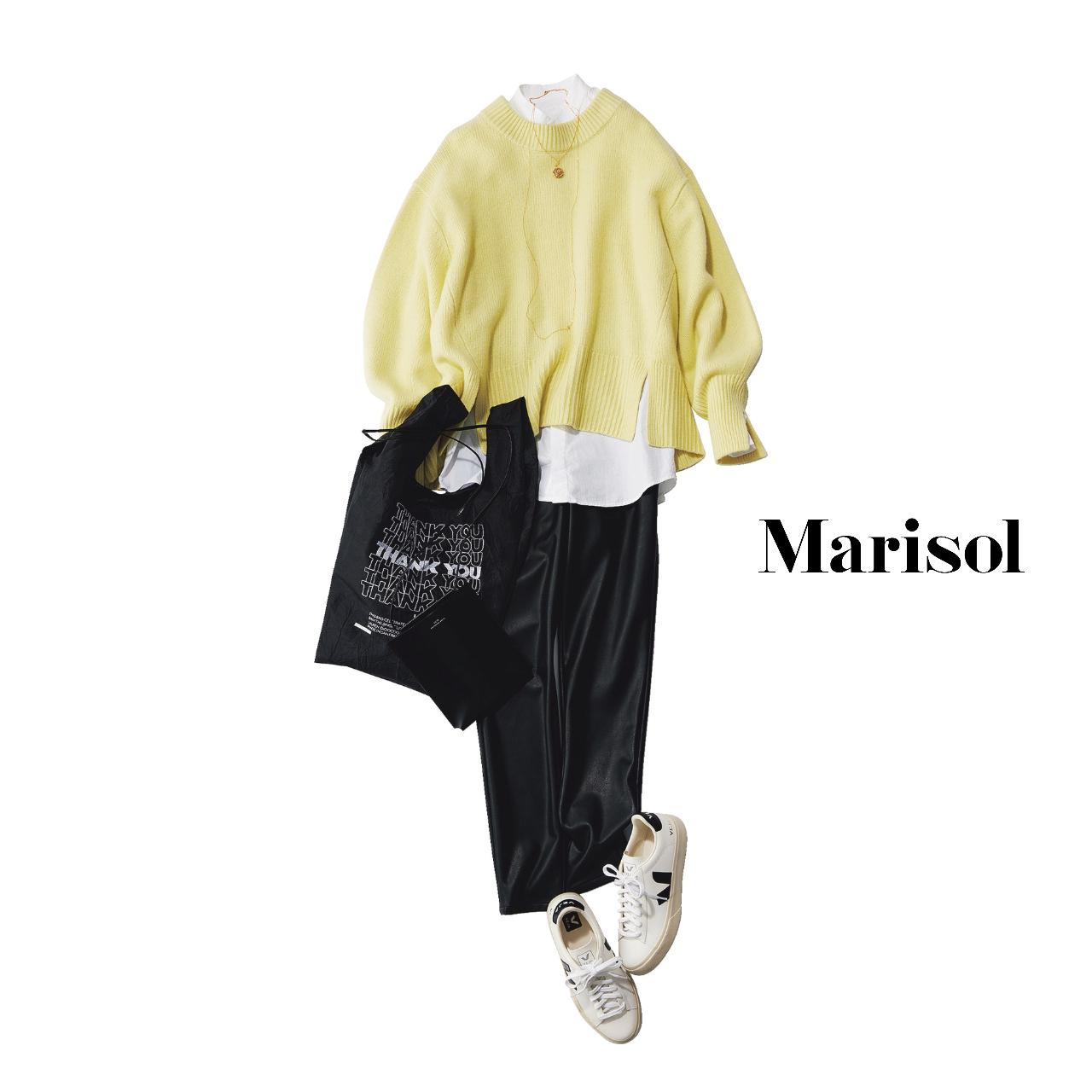 40代ファッション  イエローニット×黒パンツコーデ