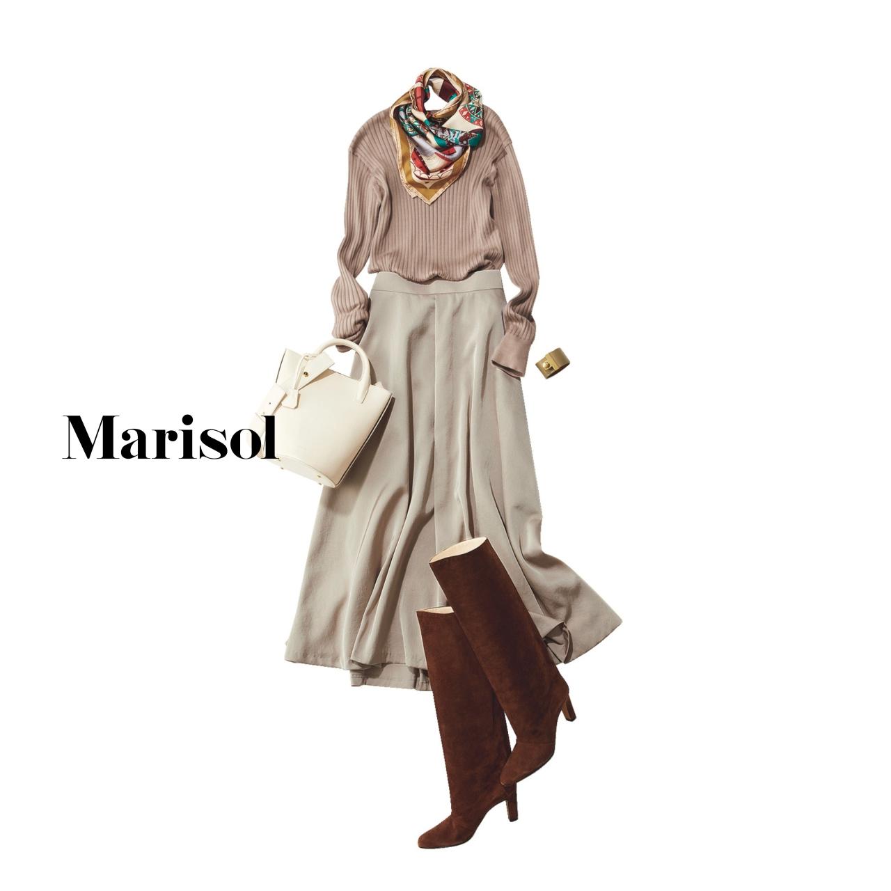 40代ファッション リブニット×艶スカートコーデ