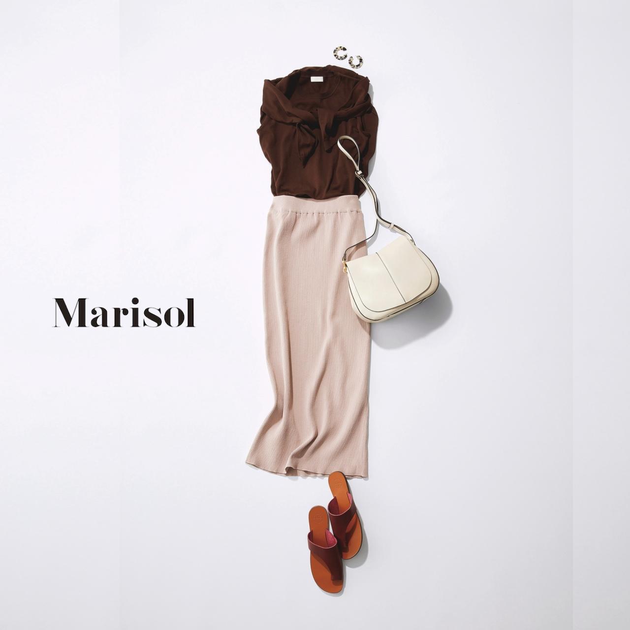 40代ファッション ブラウンアンサンブル×ベージュニットロングスカートコーデ