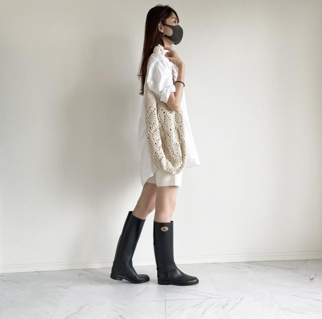 雨の休日 ロングシャツとレインブーツコーデ:OOTD【40代 私のクローゼット】_1_1