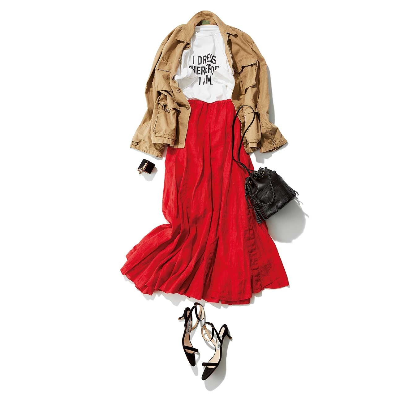 ジャケット×朱赤のロングスカートコーデ