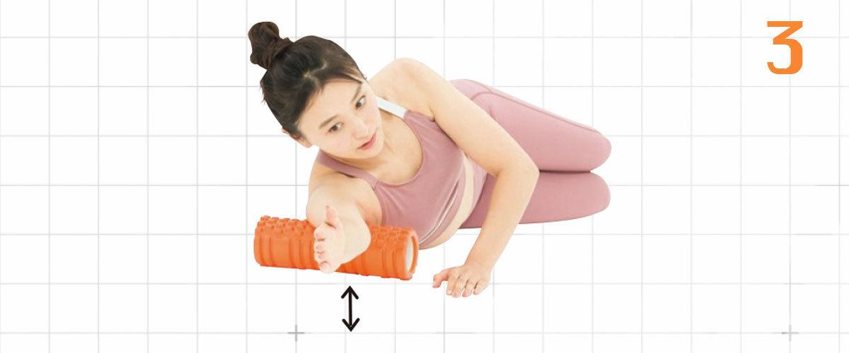 3.余裕がある人は、1の状態で右腕を床から浮かせてみて。