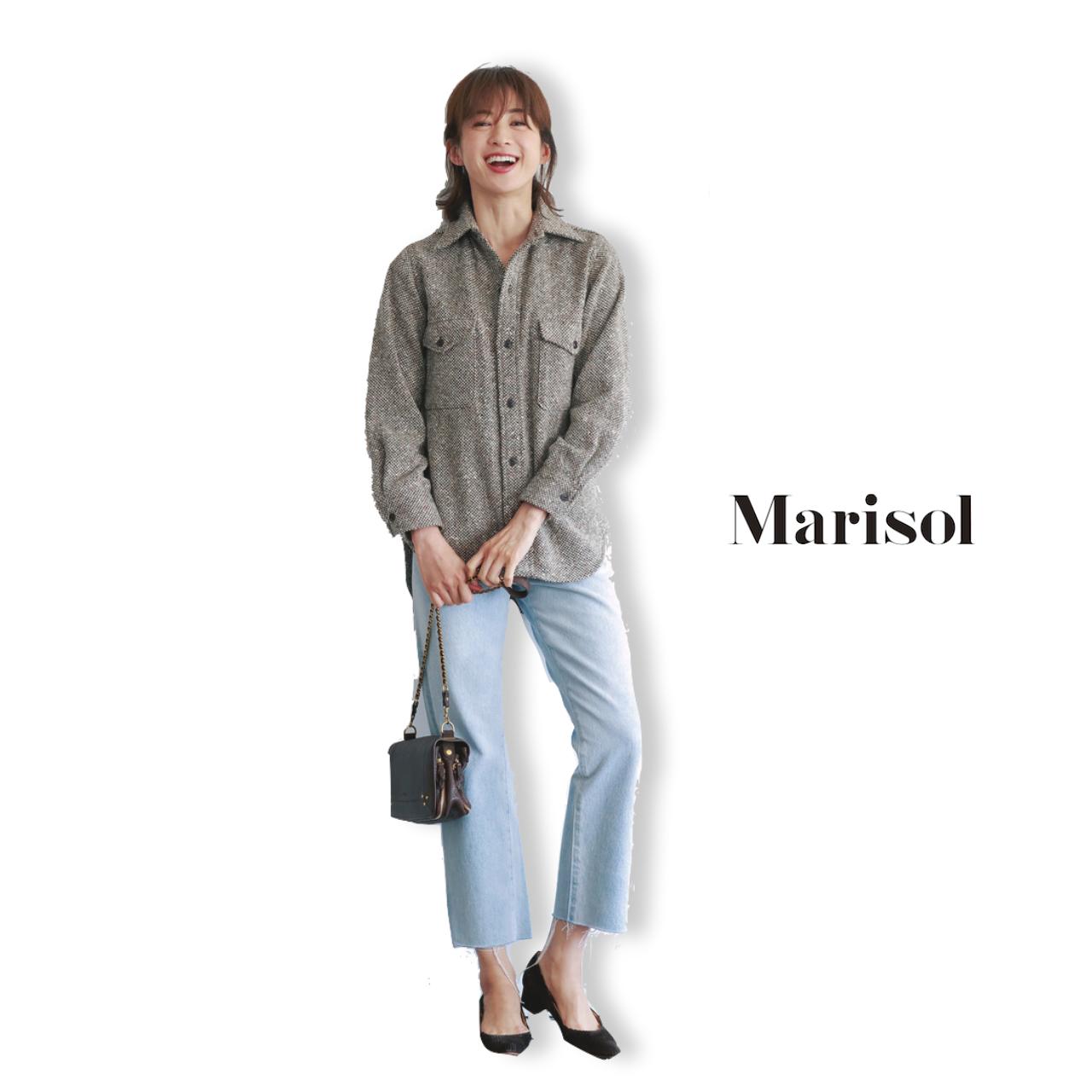 40代ファッション ツイードシャツ×淡デニムパンツコーデ