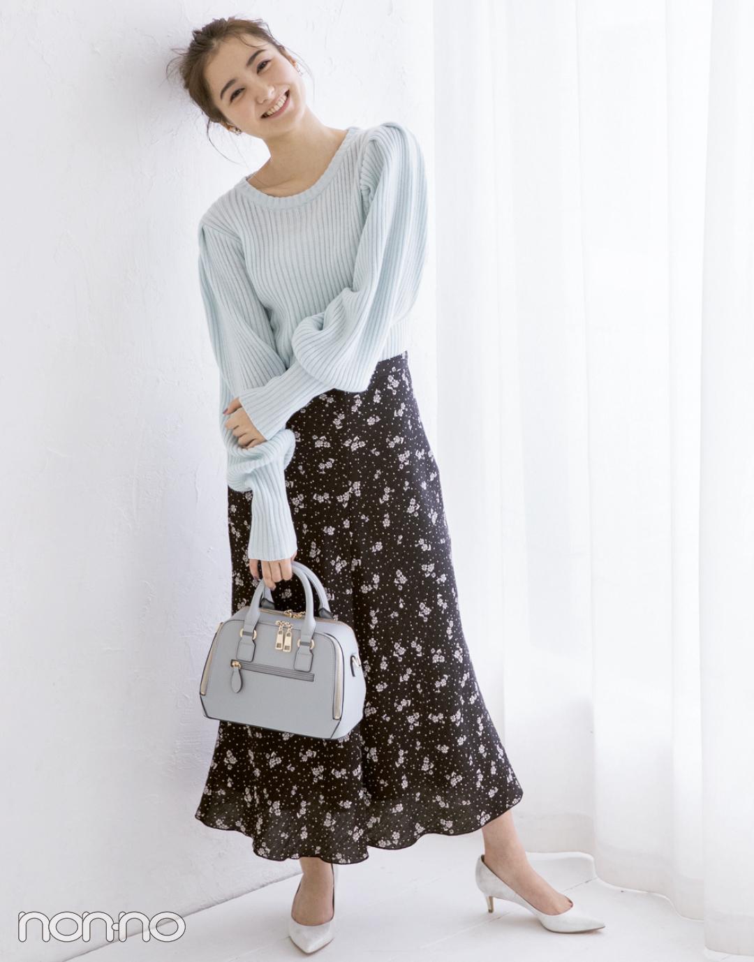 【花柄スカートコーデ】落ち着いた色の花柄&丈長スカートならソク大人♡